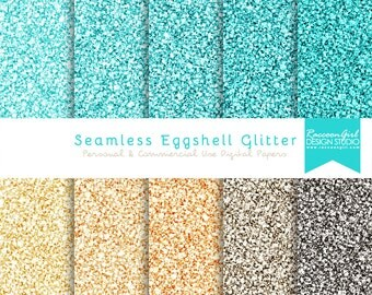 50% OFF Seamless Eggshell Blue Glitter Digital Paper Set - Personal & Commercial Use