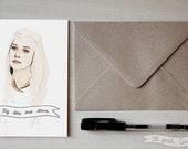 Daenerys Targaryen greeting Valentine's card Game of Thrones Emilia Clarke