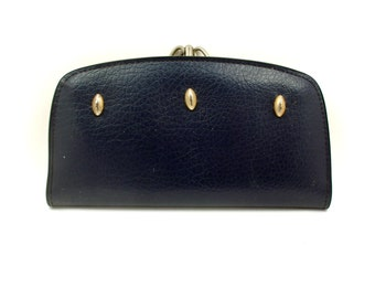 SALE - Vintage Navy Blue Faux Leather Clutch