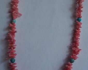 Natural Pink Coral and Turquoise Howlite Necklace.