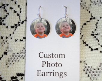 Personalized PHOTO EARRINGS with YOUR Photo - Custom Charm Earrings - Fun!!!