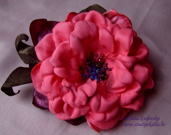 Handmade pink satin flower brooch, pink rose, flower clip & pin