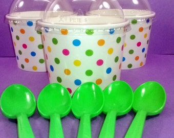 Ice Cream Cup w/Lid and Green Spoons