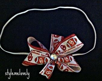 Oklahoma Sooners Baby Girl Bow Elastic Headband