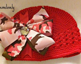 Pink and Brown Camo Baby Girl Boutique Bow Crocheted Hat