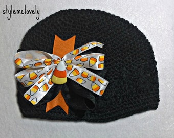 Candy Corn Baby Girl Boutique Bow Crocheted Hat