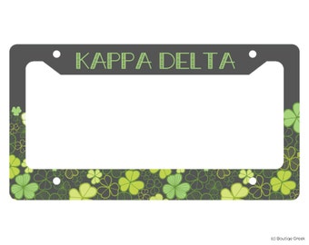KD Kappa Delta Shamrock Sorority License Plate Frame
