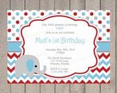 Boy First Birthday Invitation, Elephant, Boy Birthday, Red Blue and Grey Chevron, Polka Dots 1st, 2nd, 3rd, 4th, 5th, 6th, First - 5042