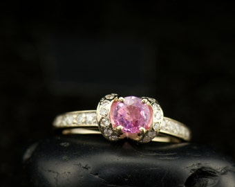 Gladys, Pink Sapphire & Diamond Engagement Ring, Prong Set Round Brilliant Center, Gypsy and Channel Set Accents, Free Shipping