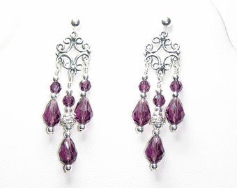 Amethyst Swarovski Crystal Sterling Silver Chandelier Earrings