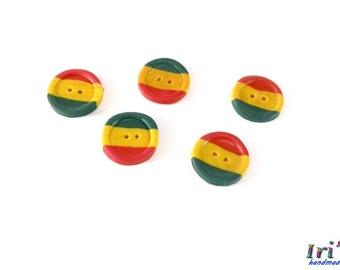 Rasta buttons,Jamaica buttons, 5 pcs