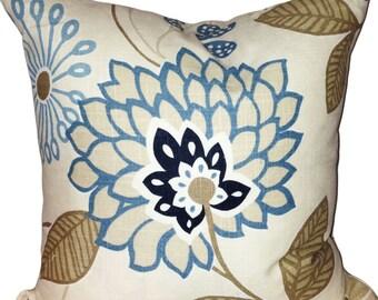 Fabricut Blue Floral Decorative Pillow Cover - Throw Pillow - Accent Pillow - Toss Pillow - Both Sides - 18x18
