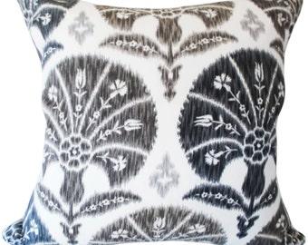 Braemore Grey Ikat Niso Decorative Pillow Cover - 18x18, 20x20 - Throw Pillow - Accent Pillow - Toss Pillow - Both Sides