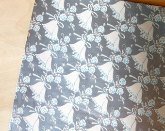 Vintage Silver Background with White & Blue Bells Roses Gift Wrap One Sheet