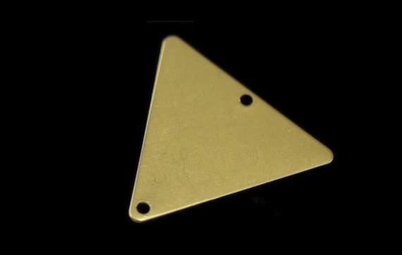 60 pcs 22x25 mm raw brass triangle tag 2 hole connector charms ,findings 926RMD-60