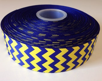 "Chevron Royal Blue & Yellow 1.5"" inch Hair Bow Ribbon-Supplies-Ribbon by the yard-grosgrain"