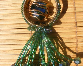 Green Fireworks-Statement Necklace created from repurposed materials