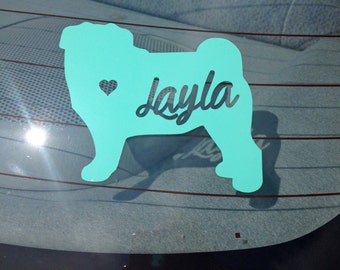 SALE! Dog SIlhouette with Name Cut-Out Decal- Pug Decal- Silhouette Window Decal