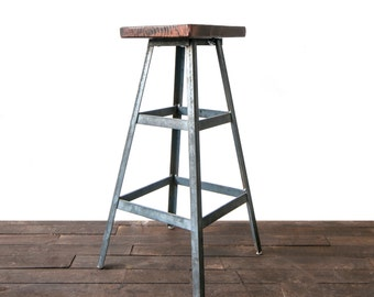 Modern Metal Barstool, Industrial Stool, Bar Stool, Shop Stool, Metal Stool, Reclaimed Wood Stool, Reclaimed Furniture Store, Barn Wood