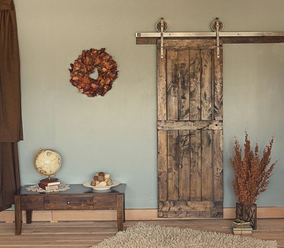 ft rustic vintage european sliding steel barn wood door closet