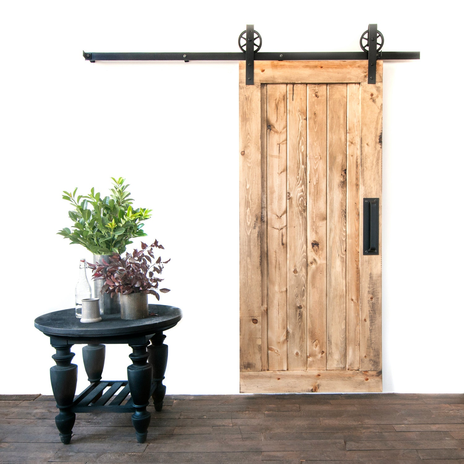 Custom built traditional single panel sliding barn door for Single sliding barn door