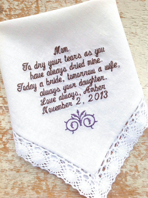 embroidered wedding handkerchief monogrammed by
