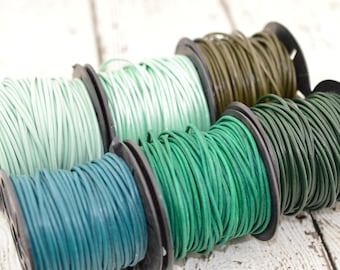 GREEN LEATHER CORD, Turquoise Splash Oasis Mehandi, or Esmeralda 2mm 12 Feet Round Leather Cording Great for Wrap Bracelets Genuine Leather