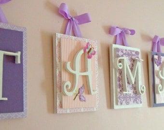 Nursery letters, Pink and Purple Nursery, Girl Nursery Ideas, Purple Nursery Letters, Hanging Wall Letters, Pink and Purple Nursery Letters