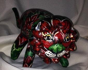 Poinsettia tiger sculpture decorative gourd art