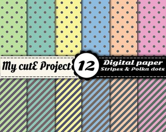 Polka dots & Stripes - Instant Download - DIGITAL PAPER - Blue, yellow, green, orange, pink - 12 sheets