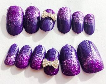 Purple Glitter Fake Nails Ombré Acrylic Nails Sparkly False Nails