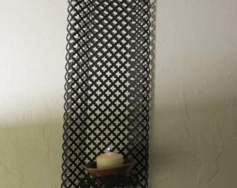 Vintage Black Mesh Wall Candle Holder