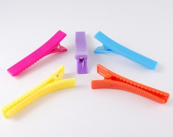 10 x Alligator Hair Pin Clip Slide Blanks Plastic Hair Grips - Mixed Colours - Crocodile Clips