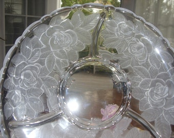 mikasa crystal studio nova winter rose 3 section platter