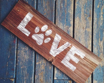 Rustic Authentic Michigan Barn Wood Dog Paw Print Love Pet Sign Wall Hanging