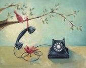"""Vintage Phone & Birds Art Print - Teal Decor - """"In The Loop"""""""