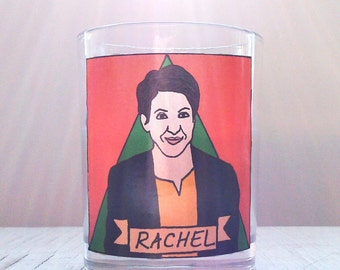 Rachel Maddow Glass Votive Candle // LGBTQ Altar Candle