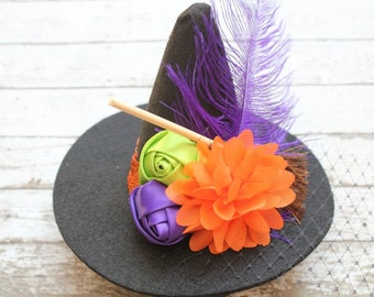 Cast A Spell, Mini Witch Hat Headband, Toddler Witch Hat Headband, Colorful Witch Hat Headband, Halloween Headband,Witch Hat Halloween Photo
