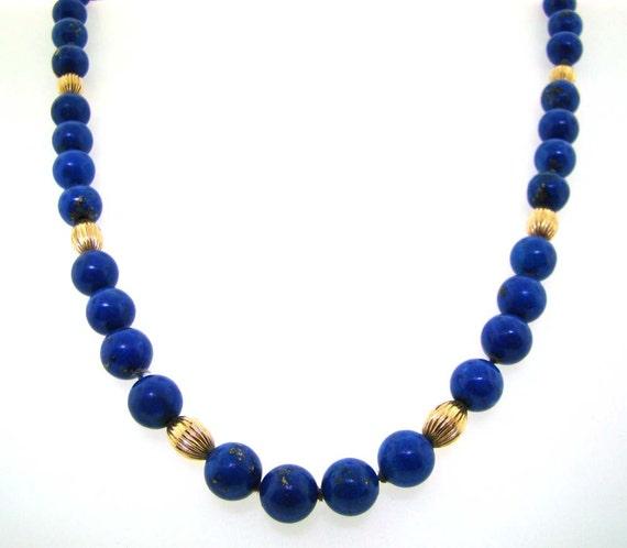 Lapis Lazuli And 14k Yellow Gold Bead Necklace