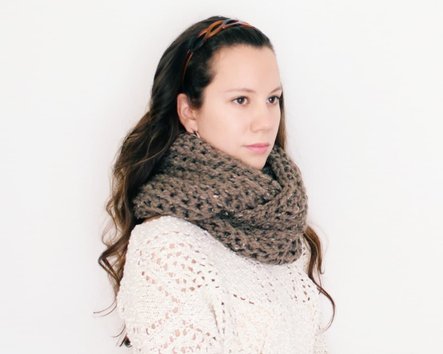 Crochet Textured Ribbed Chunky Infinity Scarf Extra Large