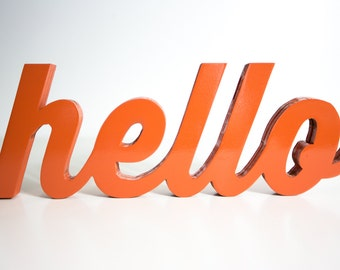 Handcrafted Hello Wood Word Art