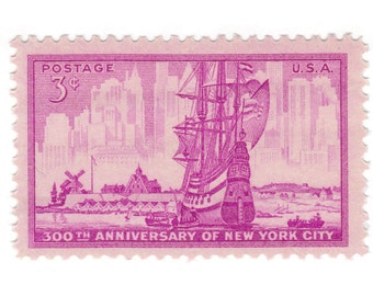 1953 3c New York City - 10 Unused Vintage Postage Stamps - Item No. 1027