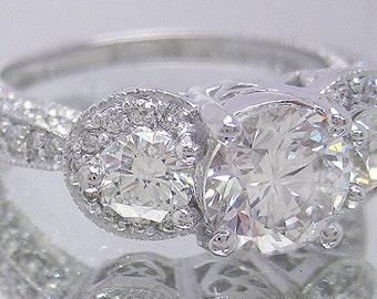14k white gold round diamond engagement ring antique 2.10ctw