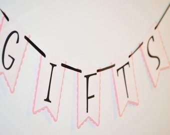 Gifts Banner, Banner for Gifts, Wedding Gifts Banner, Pink and Black Gifts Banner, Party Banner, Gifts Decoration, Gifts Wall Decor