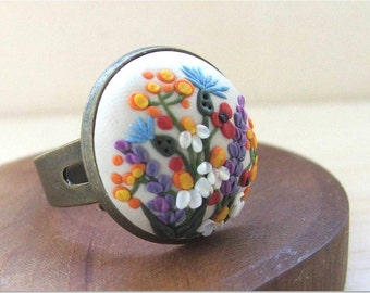 Floral Jewelry- Flower Polymer Clay Jewelry- Flower Ring- Beige and Colorfu l- MADE TO ORDER