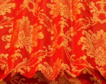 """Red & Gold Damask Jacquard 100% Silk Fabric 54"""" Wide, By the Yard (JD-44155)"""