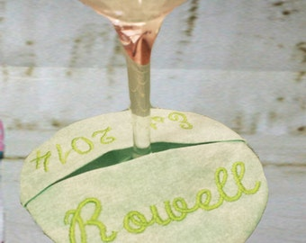 Wine Coaster,  4x4 In the hoop - Coaster Embroidery design