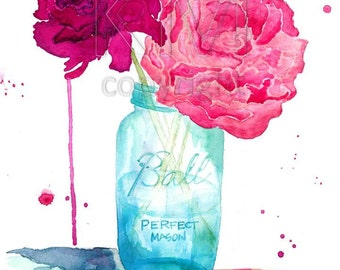 Watercolor Painting Print, 'Peonies and a Mason Jar' - home decor and wall art