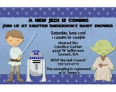 Jedi Baby Shower Party Invitations Digital File or Printed Blue FREE SHIPPING