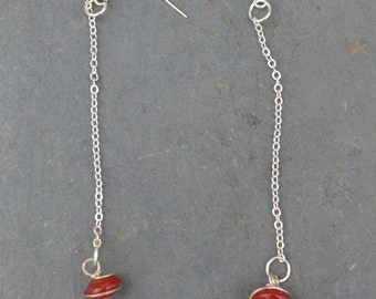 Ruby Red Wire Wrapped Glass Bead Earrings